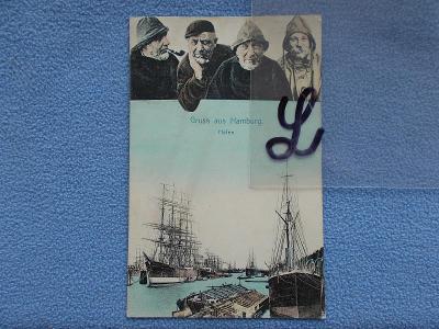 Německo DR sbírkový pohled koláž postavy námořník Hamburg přístav DA