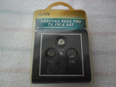 Zásuvka pro TV, SATELIT a RÁDIO, s montážní krabičkou, nové