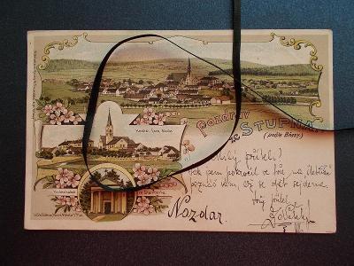 Rokycany Stupno Břasy hrobka Śtenberků  litografie  koláž DA