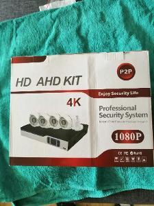 Bezpečnostní 4-kamerový AHD komplet set, kamery.nahravaci studio,1080P