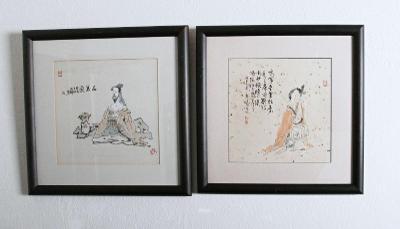 Párové čínské akvarely