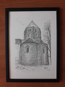 Řeznovice - kostel sv. Petra a Pavla - perokresba