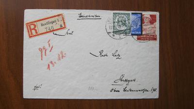 Deutsches Reich doporučený dopis se známkami kat. číslo 554, 553, 561