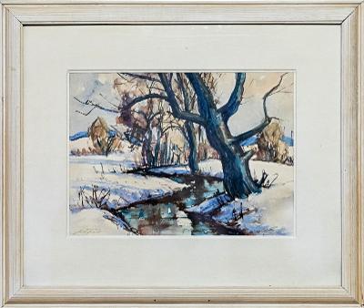 Obraz akvarel od J. Tykala, Zimní potok, retro bílý rám