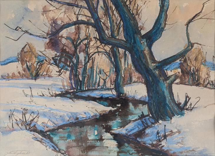 Obraz akvarel od J. Tykala, Zimní potok, retro bílý rám - Umění