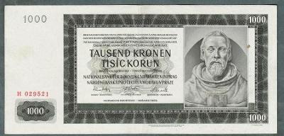 1000 korun 1942 PRVNÍ VYDÁNÍ NEPERFOROVANA stav 1+ pěkná