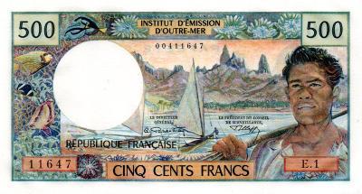 Fr. Polynésie (TAHITI) 500 francs ND70 UNC - Pick 25a