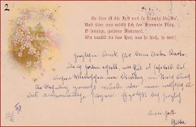 Květiny * krajina, báseň, litografie, gratulační * M5562