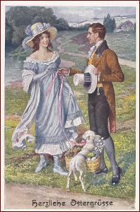 Žena * muž, dvojice, ovečka, gratulační, Velikonoce * M1516
