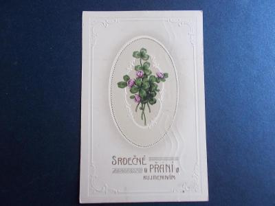 Přání svátek jmeniny květy jetel čtyřlístek tlačená reliéfní pohlednic
