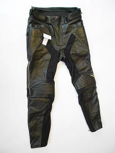 Kožené kalhoty- vel. M/50, pas: 86 cm, reflexní prvky
