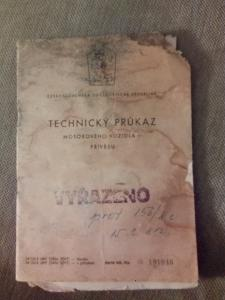 Technický průkaz ČZ 175 / 502 skůtr prase
