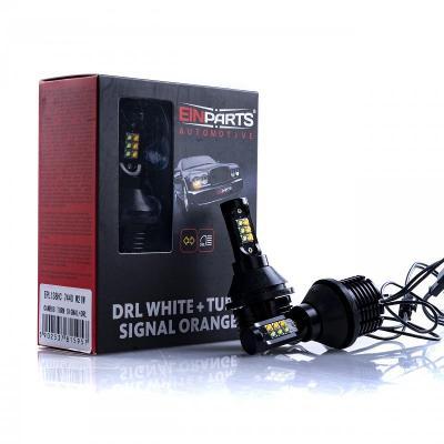 W21W LED žárovky 30W (12 x CREE) 6000K/oranžová DRL+Blinkr 12V