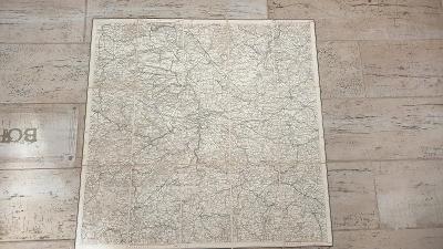 Mapa Protektorát 1940-LIDICE-Praha-Kladno-Nymburk-Přibram-RARITA!!