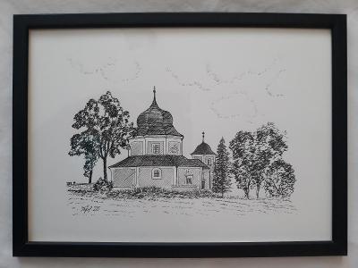 Pročevily - kostel sv. Barbory - perokresba