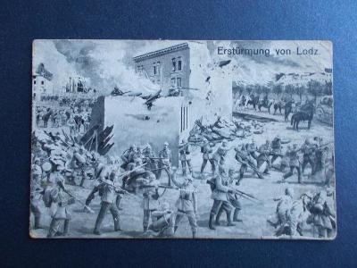 Armáda I.světová válka boj útok Polko Lodž razítko dělostřelec artiler