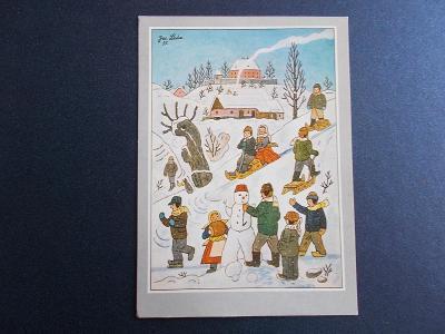 Umělecká pohlednice Josef Lada malíř Vánoce zima děti sněhulák  Odeon