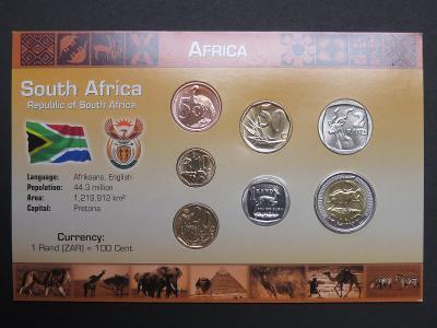 Jihoafrická rep.: kompletní sada 7 mincí 2008 UNC v kartonovém obalu