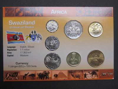 Svazijsko: kompletní sada 7 mincí 1996-2005 UNC v kartonovém obalu
