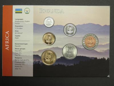 Rwanda: kompletní sada 6 mincí 2003-2007 UNC v kartonovém obalu