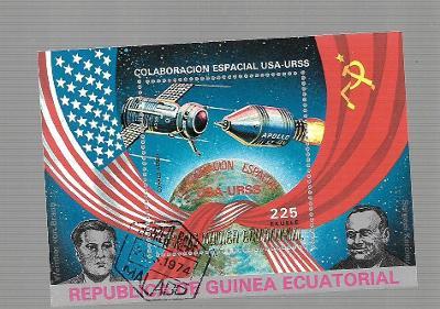 Rovníková Guinea 172 - Kosmos-Apollo-Sojuz,, von Braun,Koroljov,vlajky
