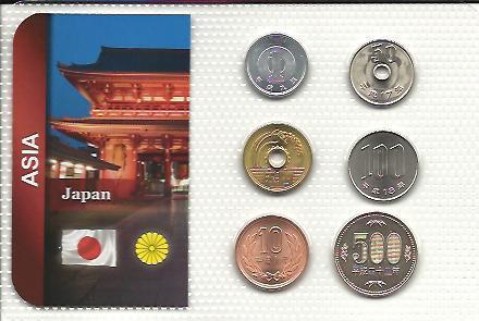 JAPONSKO: kompletní sada 6 mincí 1989-2012 UNC v blistru