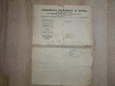 Potvrzení automechanik České Budějovice 1926. Jindřich Peřinka.