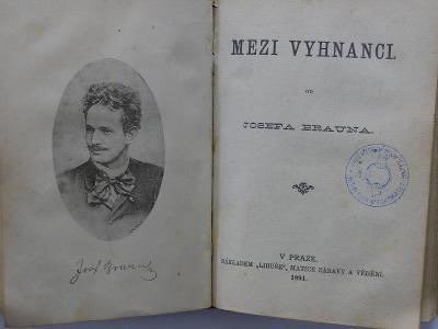 1891 Pozemský prach 1891 Mezi vyhnanci razítko Karlín spolek dělníků