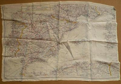 mapa ŠPANĚLSKA + FRANCIE na šátku !!! 56 x 38cm