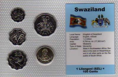 SVAZIJSKO: kompletní sada 5 mincí 1996-1998 UNC v blistru