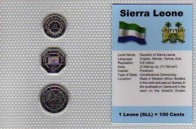 SIERRA LEONE: kompletní sada 3 mincí 1996 UNC v blistru