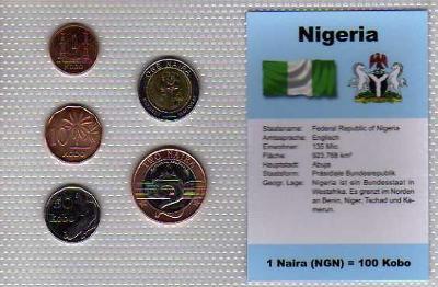 NIGÉRIE: kompletní sada 5 mincí 1991-2006 UNC v blistru
