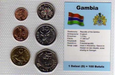 GAMBIA 1: kompletní sada 6 mincí 1971-1987 UNC v blistru