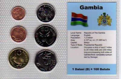 GAMBIE 2: kompletní sada 6 mincí 1998 UNC v blistru