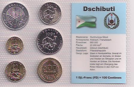 DŽIBUTSKO: kompletní sada 6 mincí 1977-1996 UNC v blistru