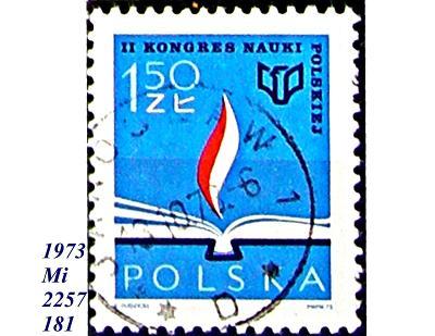 Polsko 1973 vědecký kongres Polsko, plamen stoupající z knihy