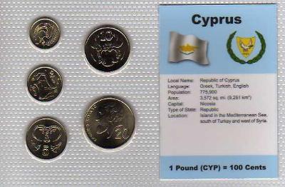 KYPR: kompletní sada 5 mincí 1994+1996 UNC v blistru