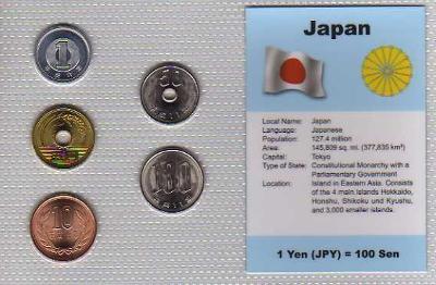 JAPONSKO: kompletní sada 5 mincí 1990-1999 UNC v blistru