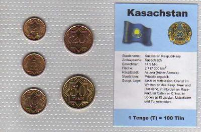 KAZACHSTÁN: kompletní sada 5 mincí 1993 UNC (patina) v blistru
