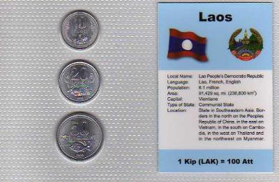 LAOS: kompletní sada 3 mincí 1980 UNC v blistru