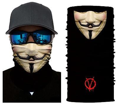 V jako Vendeta - designová rouška / šátek s 3D efektem