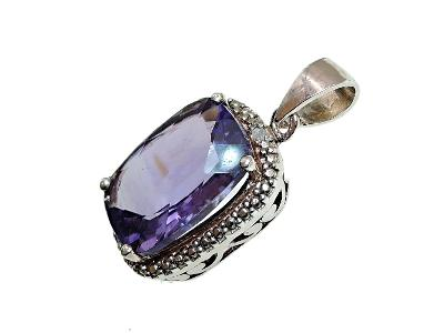 Luxusní 925 přívěšek- ametyst, diamant