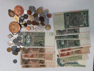 konvolut mincí, bankovek a aj.