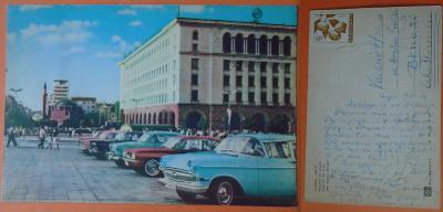 Bulharsko - Sofie, výhled na město, starší auta, 1965