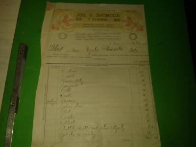 STARÝ UČET NÁBYTEK SVOBODA SLNÉ 1919  VÝROBCE RAKVÍ A KULEČNÍKU POHŘEB