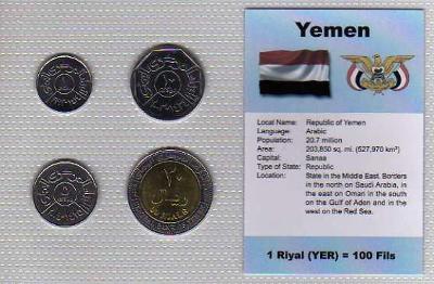 JEMEN : kompletní sada 4 mincí 1993-2004 UNC v blistru