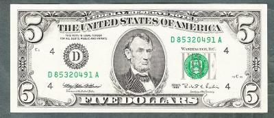 Amerika USA 5 dollar 1995 stav 1+