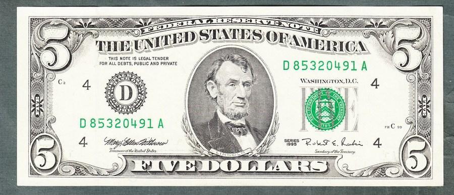 Amerika USA 5 dollar 1995 stav 1+  - Bankovky