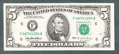 Amerika USA 5 dollar 1995 stav 1