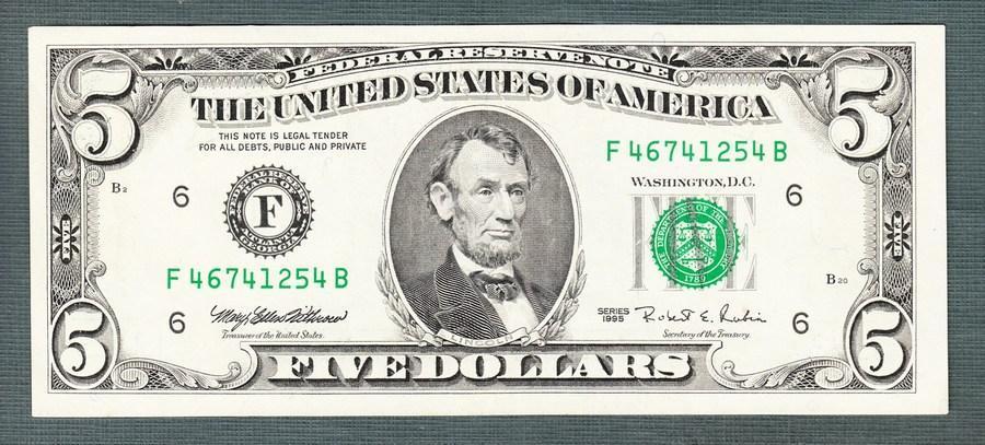 Amerika USA 5 dollar 1995 stav 1 - Bankovky